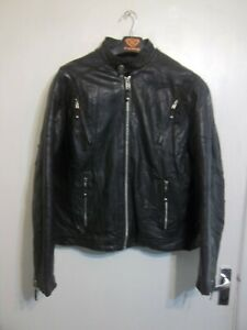 VINTAGE WILSONS LEATHER CAFE RACER MOTORCYCLE JACKET SIZE XL WITH HARLEY BADGE