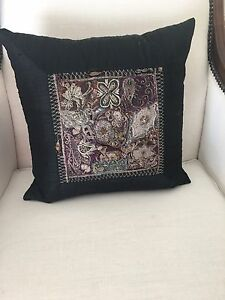 Antique Embroidered Pillow Black Shantung Silk & Feather Insert
