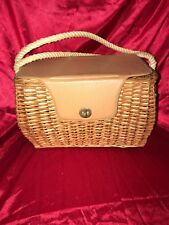 Vintage Wicker and pleather Fly Fishing Basket