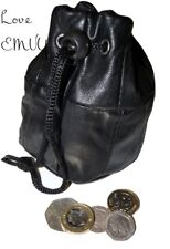 Large luxury Leather drawstring wrist coin pouch change mens ladies black purse