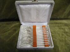 """12 fourchettes gateaux métal argente """"contours violon"""" (pastry forks) LCF"""