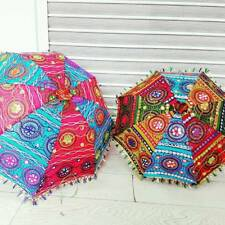 Tradition Indian Patchwork Fabric Umbrella Parasol Hand Held Sun Shade Brolly