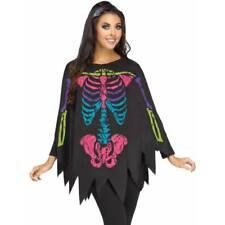 coloré Os Squelette Poncho Day of the Dead Costume Déguisement