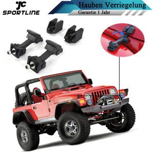 Schwarz Hauben Verriegelung Motorhaube Satz Passt für Jeep Wrangler TJ 1997-2006