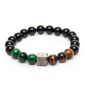 Stretch Bracelet Unique Tiger Eye Onyx Pyrite Cube Gemstone Beaded Bracelet UK