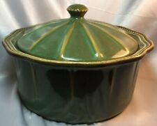 HOBNAIL Soup Tureen~Roscher & Co. Green, Scalloped~With Lid