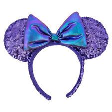 Genuine Disney Parks Potion Purple Minnie Mouse Ears Bow Sequins Headband