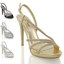 Womens Bridal Diamante Platform Heels Ladies Prom Party Evening Sandal Shoes 3-8