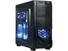 DIYPC Ranger-R5-B Black USB 3.0 ATX Mid Tower Gaming Computer Case with 3 x Blue