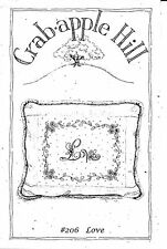 "Crab-apple Hill ""LOVE"" pillow ~~ Embroidery and Pillow Pattern #206"