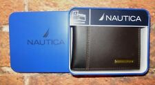 MENS NAUTICA BIFOLD PASSCASE BROWN LEATHER WALLET WITH METAL TIN GIFT BOX