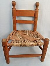 """Adorable Vintage Wood & Wicker Kids Toddler Chair 17"""" x 12"""" Teddy Doll Furniture"""