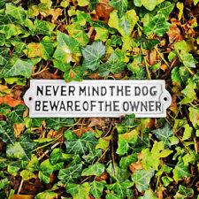 No importa el perro signo de pared de hierro fundido Placa de Puerta De Jardín Blanco Regalo Divertido Novedad