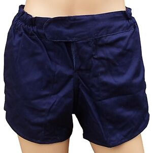 "TUFTEX 100% Cotton Heavyweight Rugby Shorts Navy Blue 30"" White Tie Cord Waist"