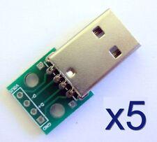 Lot 5x connecteur USB male+Plaque PCB - 5x USB connector+module board PCB plate