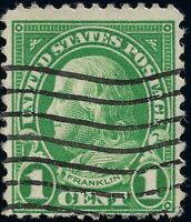 XF DARK Green Ben Franklin 1 Cent US Stamp Machine Flag Cancel Used NG Perf 11x