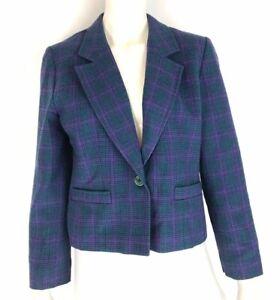 Vintage Pendleton Womens Plaid Wool Blazer Jacket Teal Made in USA Size Petite