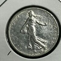 1916 FRANCE SILVER 1 FRANC NEAR UNCIRCULATED COIN