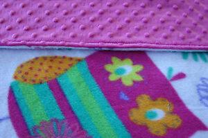 Pink & White Owls Reversible Minky/Fleece Handmade Blanket