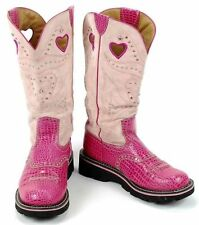 Ariat Fat Baby Pink Croc Buckaroo Bling Tall Boot Women Size 8B (EUR 39M) #15113