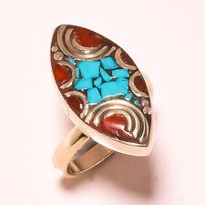 Red Coral Tibetan Turquoise Gemstone Jewelry Adjustable Nepali Ring USA-6321