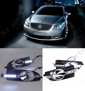 White LED DRL Daytime Running Lamp Turn Signal For Buick LaCrosse 2010-2013