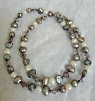 Beautiful Multi-colored Pearl Bead Necklace.925 Italy Sterling Silver Clasp