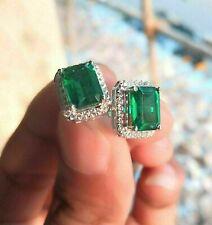 4.50Ct Emerald Cut Green Emerald Halo Stud Earrings 14k White Gold Finish