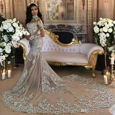Luxury Sparkly 2017 Wedding Dresses Beaded Lace Applique High Neck Bridal Gowns