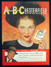 1949 Joan Fontaine print ad for Chesterfields cigarettes
