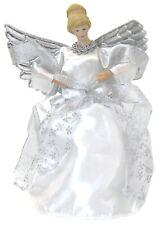 Sapin de Noël Dessus Fairy Ange Décoration Haut Ornements Argent Robe Ailes