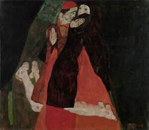 Egon Schiele Cardinal and Nun Caress Poster Reproduction Giclee Canvas Print