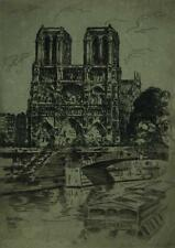 Vintage 1919 Pencil Signed Etching of Notre Dame by French Artist Ernest Laborde