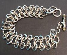 David Yurman 18MM Atlas Chain Mail Toggle Bracelet Cable Link Sterling 18k $1400