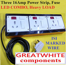 Wooden Extension THREE 16 Amp FUSE LED  for HEAVY load , 1.5 sq mm 2 meter wire