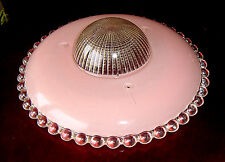 Antique Beaded Prismatic Pink Deco Glass Hanging Ceiling/Chandelier Light Shade