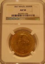 Brasile 1867 Oro 20000 Reis NGC AU50 Pedro 2