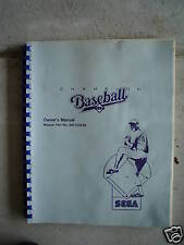 Champion Baseball Arcade Game Owners Manual Look