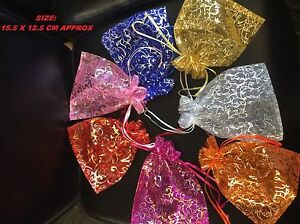 10/25/50 Organza gift Wedding Favour Pouches Jewellery Mesh Party Drawstrin Bags