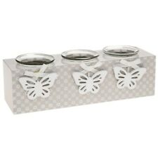 Butterfly Triple Tea Light Holder Shabby Chic Candle Rustic Home Gift New
