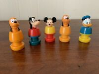 Vintage Disney Mickey Mouse Donald Duck Pluto Goofy Small Toy Figures Lot Of 5