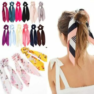 Solid/Floral Bow Satin Long Ribbon Ponytail Scarf Hair Tie Scrunchie Elastic