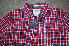 abercrombie & fitch cobble hill longh sleeve shirt men's red plaid XL