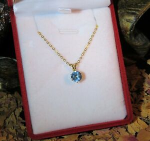 Amazing natural bright Swiss Blue Topaz 6mm round faceted yellow gold pendant 🔵