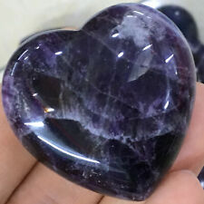 1PC Natural dreamy amethyst  heart quartz crystal hand-polished healing