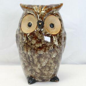 """Farmhouse Brown Owl Vase Elegant Expressions Ceramic Figurine 8.5"""""""