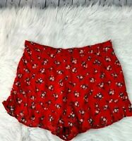 Women's American Eagle Size Large Red Flowy Shorts Floral Ruffled Hem