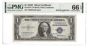 1935 $1 Silver Certificate - Rare Star Note - PMG66 EPQ - FR#1615 (Block *F)