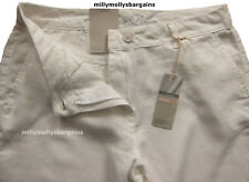 New Womens Marks & Spencer White Linen Chino Trousers Size 22 LABEL FAULT