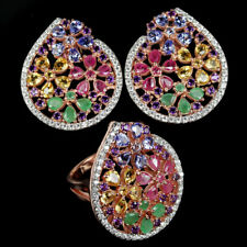 GENUINE AAA CITRINE TANZANITE EMERALD RUBY AMETHYST CZ STERLING 925 SILVER SET
